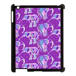 Cute Violet Elephants Pattern Apple iPad 3/4 Case (Black) Front