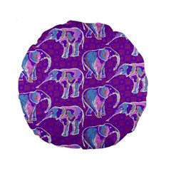 Cute Violet Elephants Pattern Standard 15  Premium Round Cushions