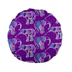 Cute Violet Elephants Pattern Standard 15  Premium Round Cushions Back