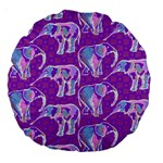 Cute Violet Elephants Pattern Large 18  Premium Round Cushions Back