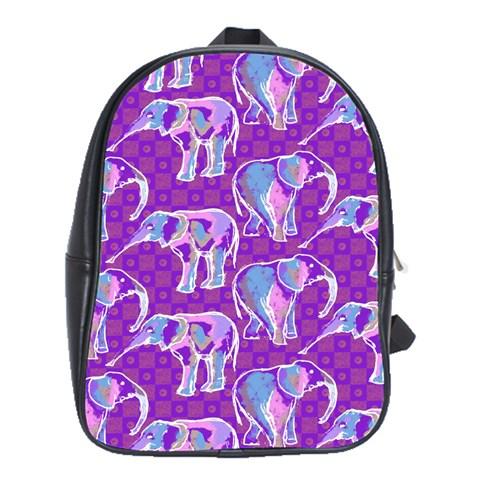 Cute Violet Elephants Pattern School Bags (XL)