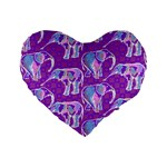Cute Violet Elephants Pattern Standard 16  Premium Heart Shape Cushions Front
