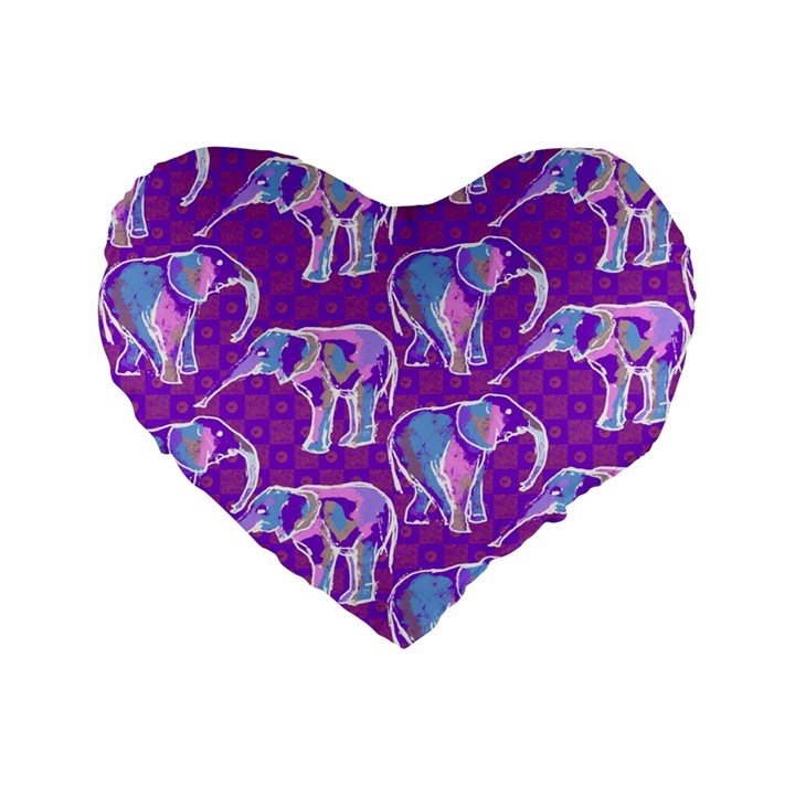 Cute Violet Elephants Pattern Standard 16  Premium Heart Shape Cushions