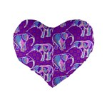 Cute Violet Elephants Pattern Standard 16  Premium Heart Shape Cushions Back