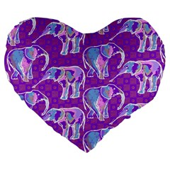 Cute Violet Elephants Pattern Large 19  Premium Heart Shape Cushions