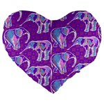Cute Violet Elephants Pattern Large 19  Premium Heart Shape Cushions Front