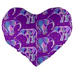 Cute Violet Elephants Pattern Large 19  Premium Heart Shape Cushions Back