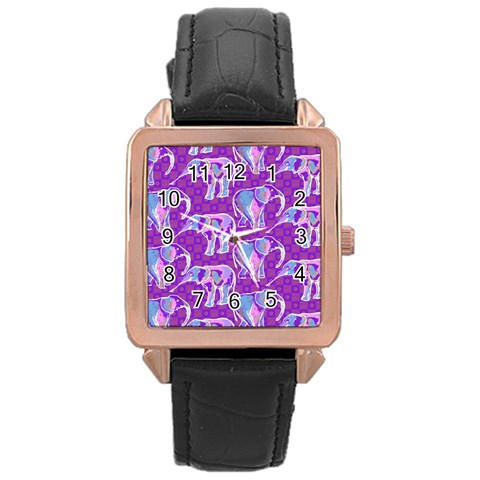 Cute Violet Elephants Pattern Rose Gold Leather Watch