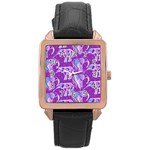 Cute Violet Elephants Pattern Rose Gold Leather Watch  Front