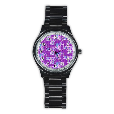 Cute Violet Elephants Pattern Stainless Steel Round Watch