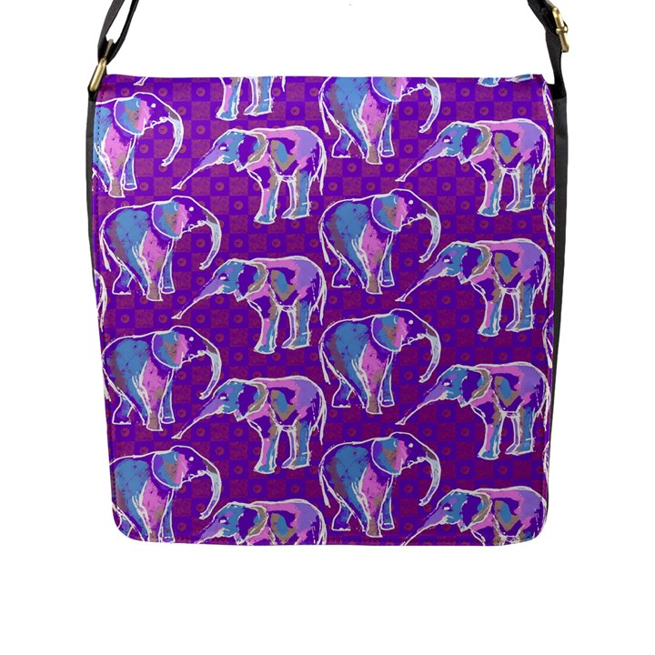 Cute Violet Elephants Pattern Flap Messenger Bag (L)