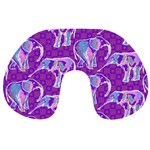 Cute Violet Elephants Pattern Travel Neck Pillows Back