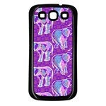Cute Violet Elephants Pattern Samsung Galaxy S3 Back Case (Black) Front