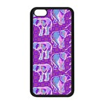 Cute Violet Elephants Pattern Apple iPhone 5C Seamless Case (Black) Front