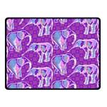 Cute Violet Elephants Pattern Double Sided Fleece Blanket (Small)  50 x40 Blanket Back