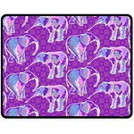 Cute Violet Elephants Pattern Double Sided Fleece Blanket (Medium)  60 x50 Blanket Front
