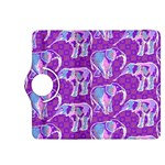 Cute Violet Elephants Pattern Kindle Fire HDX 8.9  Flip 360 Case Front