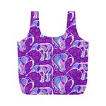 Cute Violet Elephants Pattern Full Print Recycle Bags (M)  Front