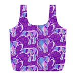 Cute Violet Elephants Pattern Full Print Recycle Bags (L)  Front