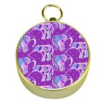 Cute Violet Elephants Pattern Gold Compasses Front