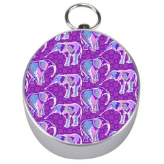 Cute Violet Elephants Pattern Silver Compasses