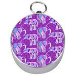 Cute Violet Elephants Pattern Silver Compasses Front