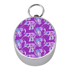 Cute Violet Elephants Pattern Mini Silver Compasses