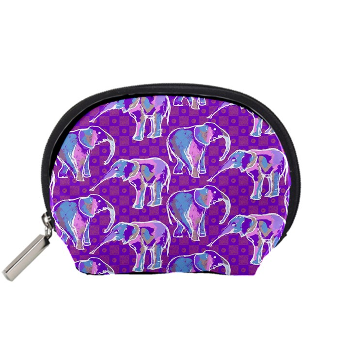 Cute Violet Elephants Pattern Accessory Pouches (Small)