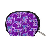 Cute Violet Elephants Pattern Accessory Pouches (Small)  Back