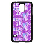 Cute Violet Elephants Pattern Samsung Galaxy S5 Case (Black) Front
