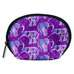 Cute Violet Elephants Pattern Accessory Pouches (Medium)  Front