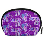 Cute Violet Elephants Pattern Accessory Pouches (Large)  Back