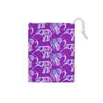 Cute Violet Elephants Pattern Drawstring Pouches (Small)  Front