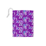 Cute Violet Elephants Pattern Drawstring Pouches (Small)  Back