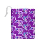Cute Violet Elephants Pattern Drawstring Pouches (Medium)  Back