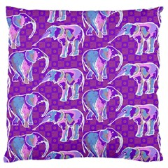 Cute Violet Elephants Pattern Large Flano Cushion Case (two Sides)