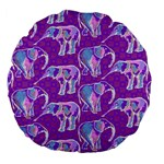 Cute Violet Elephants Pattern Large 18  Premium Flano Round Cushions Front