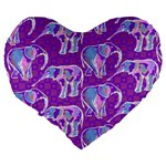 Cute Violet Elephants Pattern Large 19  Premium Flano Heart Shape Cushions Back