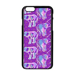 Cute Violet Elephants Pattern Apple iPhone 6/6S Black Enamel Case