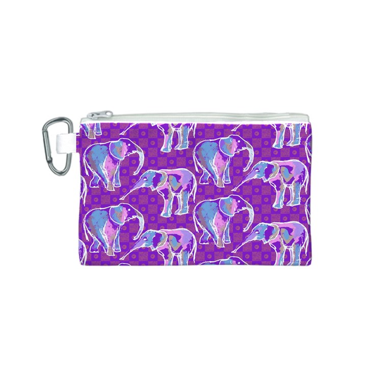 Cute Violet Elephants Pattern Canvas Cosmetic Bag (S)
