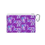 Cute Violet Elephants Pattern Canvas Cosmetic Bag (S) Back