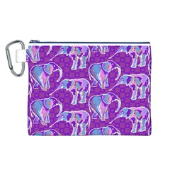 Cute Violet Elephants Pattern Canvas Cosmetic Bag (L)