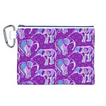 Cute Violet Elephants Pattern Canvas Cosmetic Bag (L) Front
