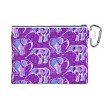 Cute Violet Elephants Pattern Canvas Cosmetic Bag (L) Back