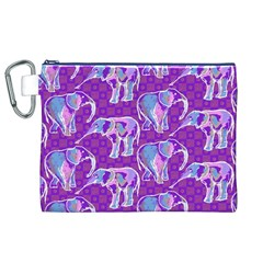 Cute Violet Elephants Pattern Canvas Cosmetic Bag (xl)