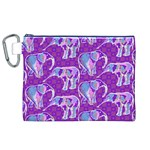 Cute Violet Elephants Pattern Canvas Cosmetic Bag (XL) Front