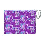 Cute Violet Elephants Pattern Canvas Cosmetic Bag (XL) Back