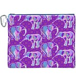 Cute Violet Elephants Pattern Canvas Cosmetic Bag (XXXL) Front