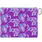 Cute Violet Elephants Pattern Canvas Cosmetic Bag (XXXL) Back