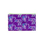 Cute Violet Elephants Pattern Cosmetic Bag (XS) Front